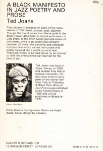 Ted Joans - A Black Manifesto in Jazz Poetry and Prose - back cover